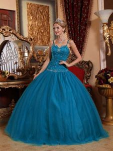 Dodger Blue Spaghetti Straps Floor-length Quinceanera Gown Dresses