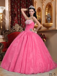 Watermelon Strapless Quinceanera Dresses with Appliques and Ruches