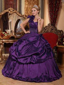 One Shoulder Floor-length Dark Purple Quinceanera Gown with Pick-ups