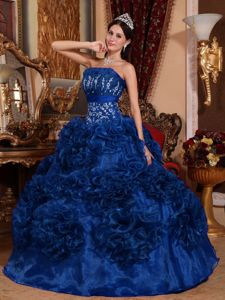Blue Ruffled and Beaded Strapless Dresses For Quinceanera in Norcross