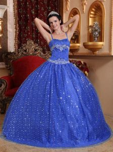 Royal Blue Spaghetti Straps Floor-length Sweet 15 Dresses with Sequins