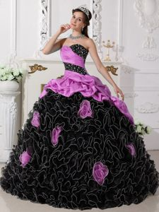 Exquisite Ruffled Pink and Black Quinceanera Gown Dress with Flowers