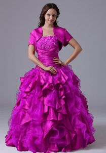 Popular Ruffled and Beaded Strapless Magenta Sweet 16 Dresses in Ocala