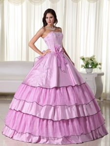 Pink Sweetheart Quinceanera Dress with Beading and Flowers in Augusta