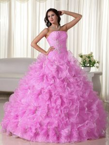 Strapless Floor-length Pink Quinceanera Dress with Appliques and Ruffles