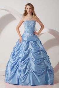 Strapless Quince Dresses in Light Sky Blue with Embroidery and Pick-ups