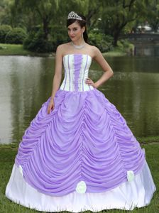 Cheap Lavender Strapless Dress For Quinceanera with Pick-ups and Flower