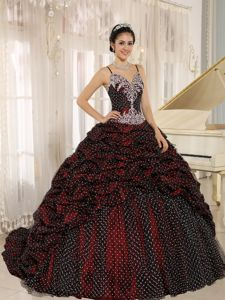 Spaghetti Straps Floor-length Wine Red Dress For Quinceanera with Beading
