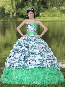 Colorful Sweetheart Floor-length Dress for Quince with Ruches and Pattern