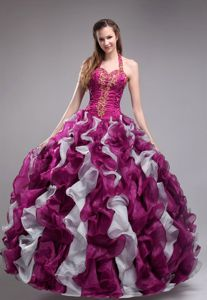 Halter Quinceanera Dress in Fuchsia with Ruffles and Appliques in Atlanta