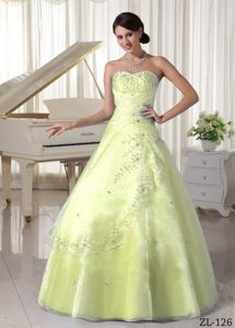 Yellow Green Organza A-line Floor-length Dresses for Quince in Broomfield