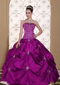 Strapless A-line Sweet Sixteen Dresses with Beading and Appliques in Greeley