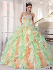 Multi-color Sweetheart Floor-length Quinceanera Dress with Ruffles in Davis