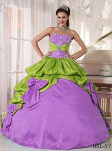 Yellow Green and Purple Strapless Quinceanera Gown with Bowknot in Chico