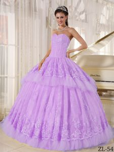 Beautiful Lilac Sweetheart Floor-length Sweet 15 Dresses with Lace in Carmel