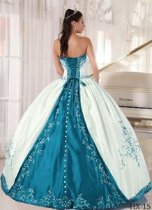 f4be502cf79 White and Teal Strapless Dress for Quinceanera in Floor-length with  Appliques