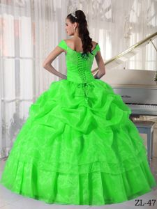 Off the Shoulder Spring Green Quinces Dresses with Pick-ups in Birmingham