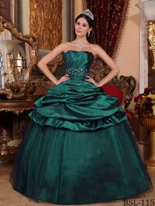 Dark Green Strapless Floor-length Beaded Quinceanera Gown Dresses in Arlington VA
