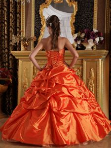 Affordable Orange Sweetheart Appliques Taffeta Sweet 16 Dresses in Alexandria VA