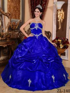 Royal Blue Strapless Organza Appliques and Pick-ups Quinceanera Dress in Gig Harbor