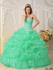 Awesome Apple Green Strapless Organza Beaded Quinceanera Dress in Waukesha