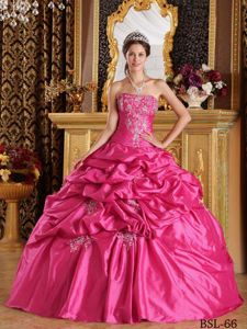 Amazing Hot Pink Strapless Pick-ups and Embroidery Quinceanera Gown Dress