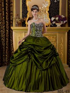Long Olive Green Sweetheart Embroidery and Pick-ups Quinceanera Dress