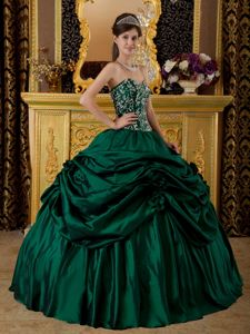 Dark Green Sweetheart Taffeta Embroidery Quinceanera Dress in Seattle VA