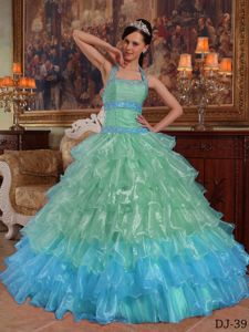 Apple Green Halter Top Beaded and Ruched Organza Quinceanera Gown Dress