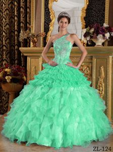 Satin and Organza Beaded Apple Green Quinceanera Dress with One Shoulder