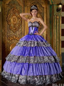 Luxurious Beaded Purple Sweetheart Ruffled Layers Quinceanera Dress with Zebra