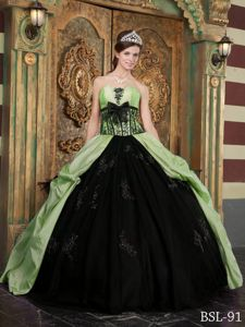 Strapless Appliques and Bowknot Yellow Green and Black Quinceanera Dresses