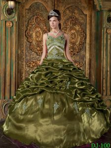 Olive Green Taffeta Beading and Pick-ups Straps Sweet 16 Dresses in Summer
