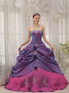 Two Toned Purple Strapless Appliques and Flowers Dress for Sweet 15 in Issaquah