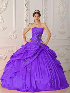 Lovely Strapless Taffeta Appliques Purple Quinceanera Dress in Gig Harbor VA