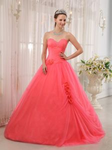Watermelon Red Sweetheart Tulle Beading Quinceanera Dress in Federal Way