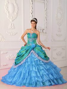 Blue Strapless Lace and Appliques Sweet 16 Quinceanera Dress in Bellingham