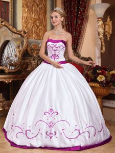 Clearance White Strapless Embroidery Satin Quinceanera Dress in Woodbridge VA