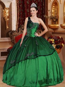 Clearance Hunter Green One Shoulder Beading and Appliques Dress for Sweet 16