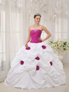 Fuchsia and White Strapless Flowery Quinceanera Dress in Winchester VA 2013