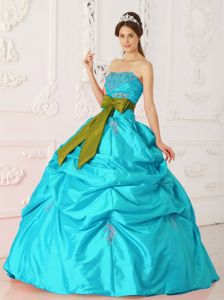 Aqua Blue Strapless Dress for Sweet 15 with Beading and Sash in Williamsburg