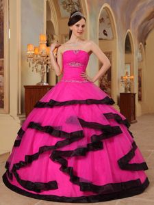 2013 on Sale Hot Pink Strapless Appliques Quinceanera Dress in Virginia Beach