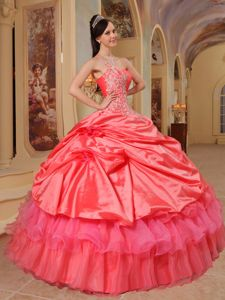 Watermelon One Shoulder Taffeta Quinceanera Dress with Appliques in Vienna