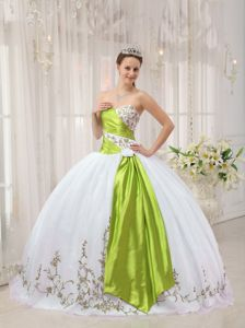 White and Green Sweetheart Embroidery Quinceanera Dress in Springfield VA
