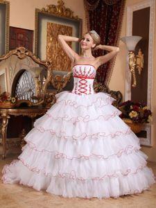 White Strapless Organza Appliques Detachable Train Sweet 15 Dresses in 2013