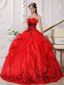 Red Strapless Organza Appliques Quinceanera Dress Full-length in Norfolk VA