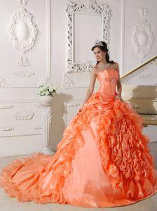 Orange Red Strapless Beaded Court Train Quinceanera Dress in Newport News