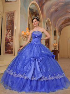 Blue Strapless Sequins and Organza Quinceanera Dress with Bows in Manassas