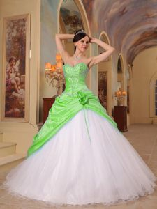 Spring Green and White A-Line Sweetheart Beading Quince Dress in Lynchburg