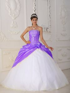 Purple and White Strapless Appliques and Hand-made Flower Dress for Quince